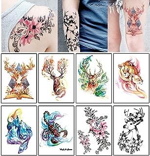 8 PCS Animal Temporary Tattoo Sticker, Fashion Body Art Boy And Girl Waterproof Fake Tattoo,Arm Tattoo Sticker(5.9'' x8.3'')