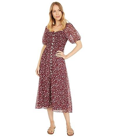 Madewell Smocked Button-Front Midi Dress in Batik Vine
