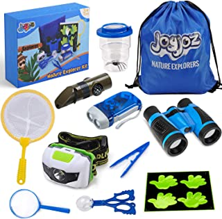 Joyjoz Outdoor Exploration Kit, Explorer Kit for Kids with Bug Catcher, Binoculars, Flashlight, Compass, Magnifying Glass, Butterfly Net and Backpack, Gift, Toys for Boys & Girls, Camping (12 PCS)