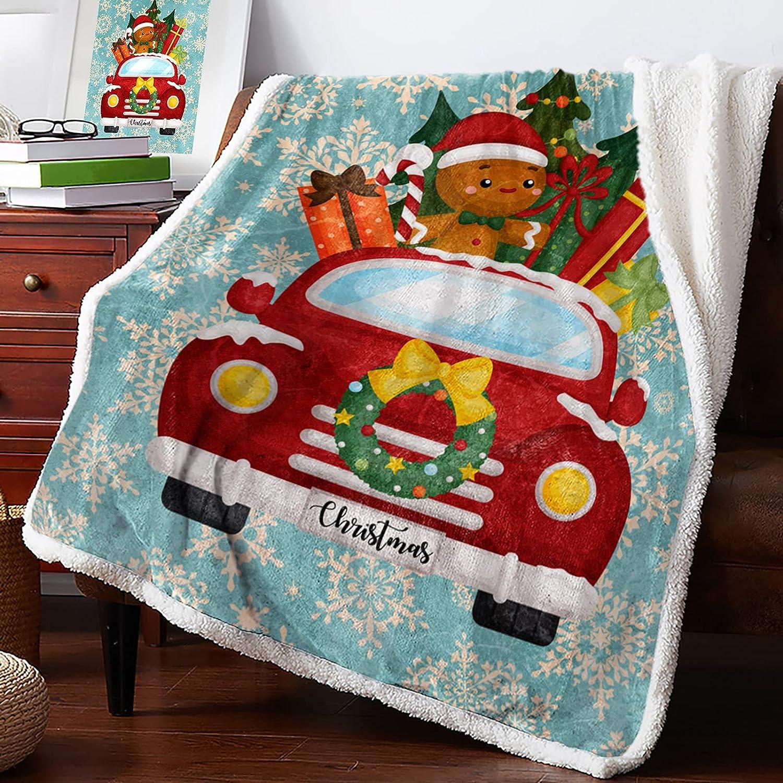 Savannan Sherpa 2021new shipping free Fleece Throw Blanket Christmas Popular brand in the world Gingerbread Man