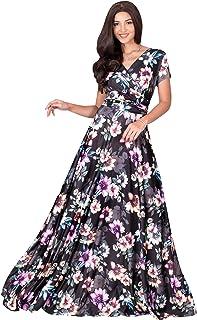 KOH KOH Womens Long Cap Sleeves Floral Print V-Neck Summer Sundress Maxi Dress