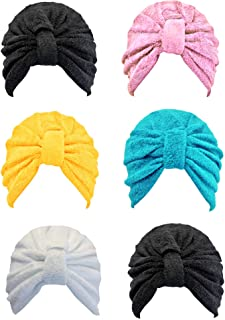 Black Pink Turquoise Yellow White 6 Pack Assorted Turban Head Wrap