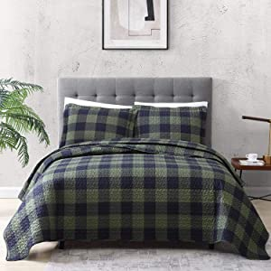 EXQ Home Quilt Set Twin Size 2 Piece,Lightweight Microfiber Coverlet Modern Style Black and Green Squares Pattern Bedspread Set(1 Quilt,1 Pillow Sham)