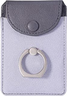 Finger Ring and Cell Phone Stick on Wallet Card Holder Phone Pocket for iPhone, Ultra-Slim Self Adhesive Credit Card Holder Wallet (Finger Ring Gray)