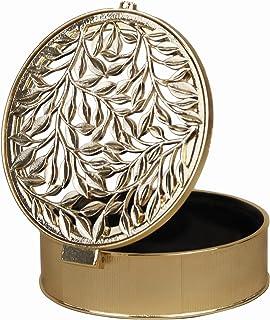 صندوق المجوهرات من جيفت جيفت جيفت جيفت ليف مجوف | لتزيين المنزل والمجوهرات والإكسسوارات (ذهبي / 4.7 بوصة × 4.7 بوصة × 1.4 ...
