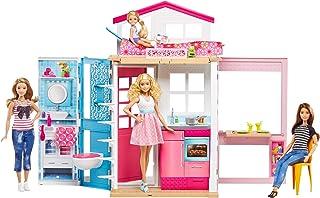 Barbie-DVV48 barbie dos Pisos Plegable, Casa con Muñeca y