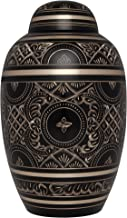 Black Gold Funeral Urn by Liliane Memorials - Cremation Urn for Human Ashes - Hand Made in Brass - Suitable for Cemetery Burial or Niche - Large Size fits remains of Adults up to 200 lbs - Rings Large