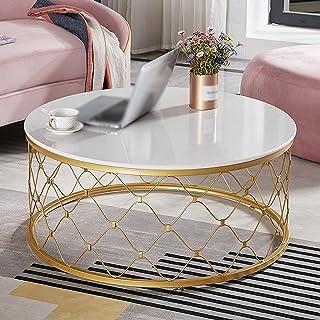 CJDM Table Basse en marbre, Petite Table à thé Ronde Simple et Moderne pour Petit Appartement, Table Basse de Salon de Lux...