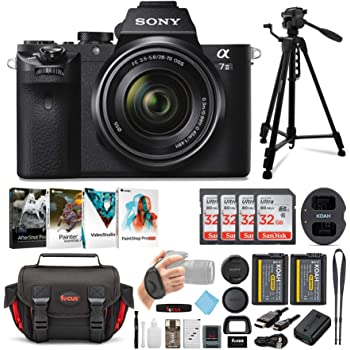 Sony Alpha a7II Mirrorless Digital Camera with 28-70mm f/3.5-5.6 Lens, Corel Software Kit, Camera Bag, 57-Inch Tripod, Rechargeable Battery and Dual Charger, 32GB SD Card, HDMI Cable Bundle (7 Items)
