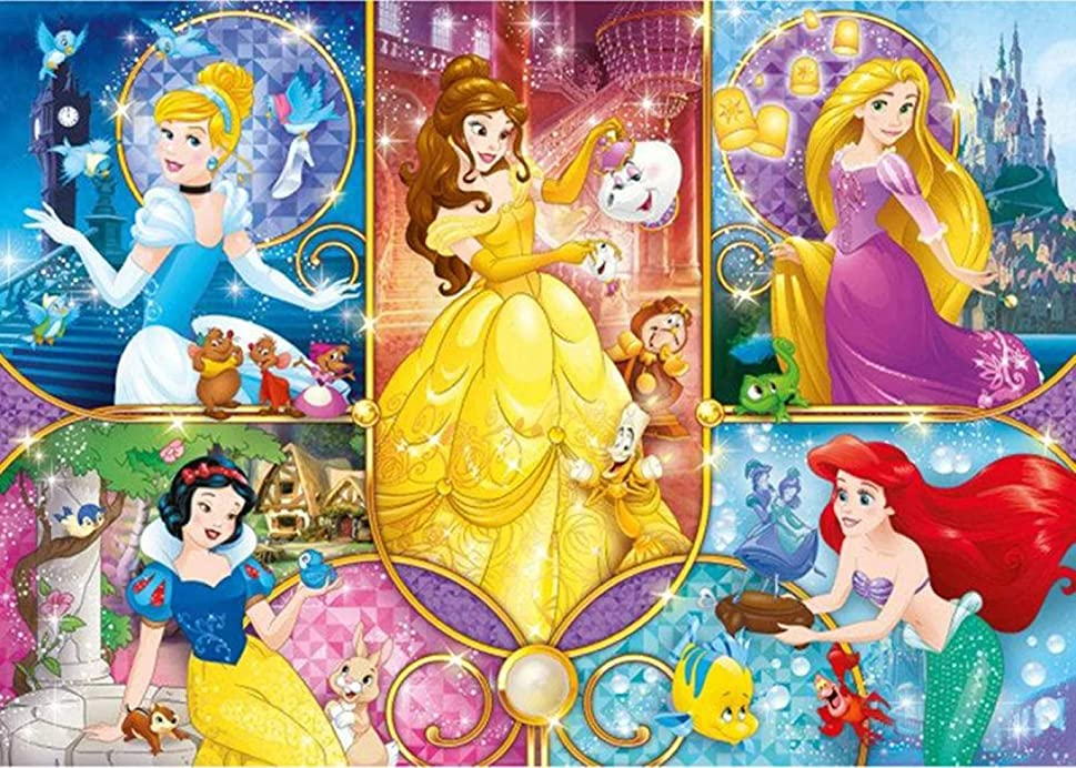 Full Drill Diamond Painting Princess by Number Kits,5D DIY Diamond Embroidery Crystal Rhinestone Cross Stitch Mosaic Paintings Arts Craft for Home Wall Decor (20X16inch/50X40cm)