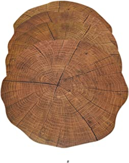 American Chateau Set 4 Round Cork-Backed Flexible Tree Trunk Slice Caramel Table Mat Placemats