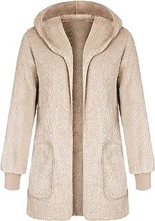 fa026ce5c00 ANGGREK Women Casual Fuzzy Hooded Jacket Faux Fur Cardigan Coat with Pockets