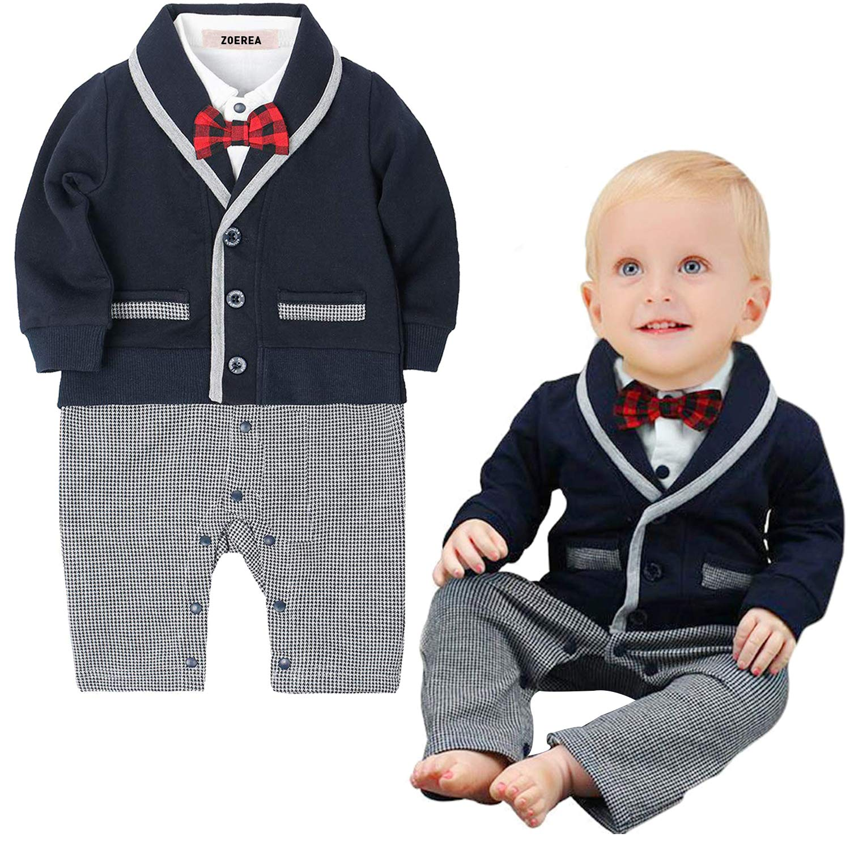 Newborn Baby Boy Gentleman Christening Tuxedo Suit Plaid Romper Pants Outfit Set