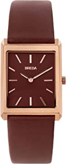 BREDA Men's Virgil 1736 Square Wrist Watch with Genuine Leather Band, 26MM