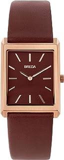 BREDA Virgil 1736 Reloj de pulsera cuadrado para hombre con correa de piel auténtica, 1.024in