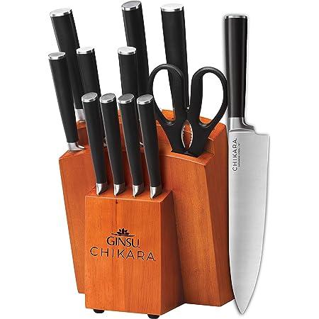 Ginsu Gourmet Chikara Series, Japanese Steel 12 Piece Cutlery Set with Toffee Finish Block
