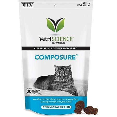 VetriScience Laboratories Composure, Calming Formula for Cats, 30 Bite-Sized Chews