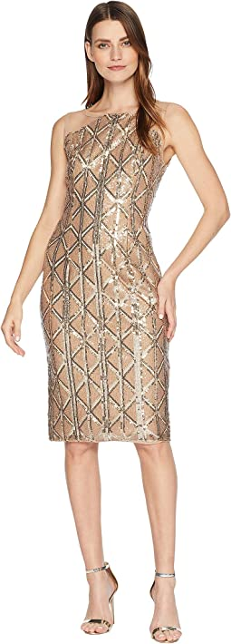 Stretch Sequin Cocktail Dress with Illusion Shoulders