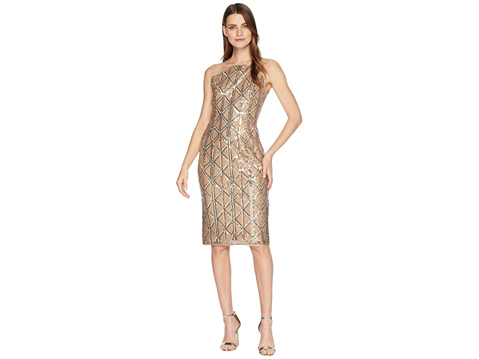 Adrianna Papell Stretch Sequin Cocktail Dress with Illusion Shoulders (Champagne) Women