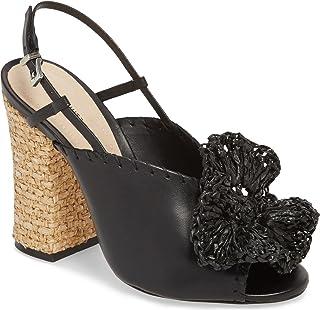 SCHUTZ Milani Peep Toe Sling Black Black Sandal Woven Block Heel Flower Pump (10.5)