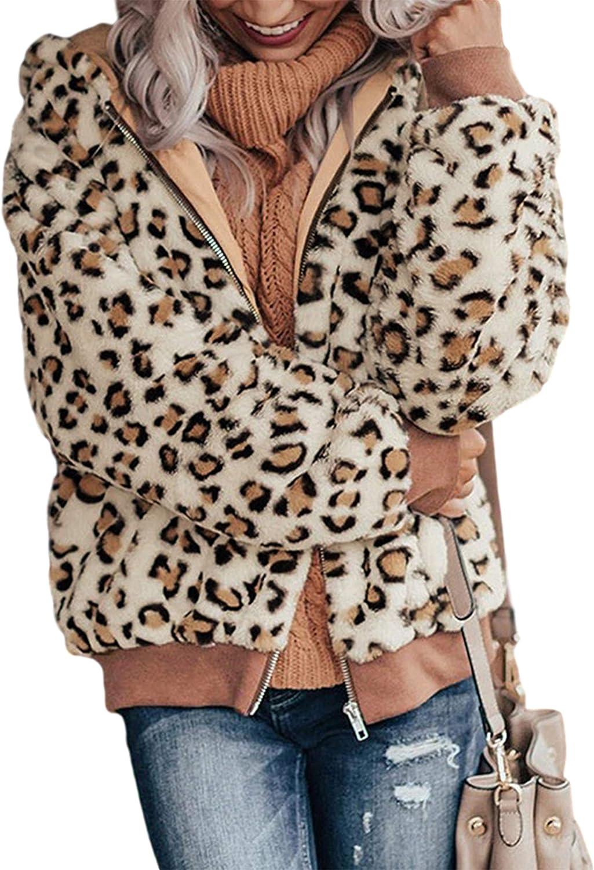 Springrain Women's Casual Leopard Faux Fur Hoodie Jacket Shaggy Fleece Outwear Coat