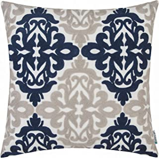 HWY 50 Navy Blue Decorative Embroidered Throw Pillow Covers Cushion Cases for Couch Sofa Bed 18 x 18 inch Accent Farmhouse Geometric 1 Piece