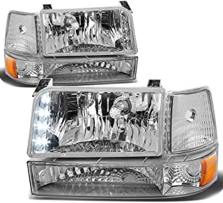 Chrome Housing Amber Reflector LED Headlight+Bumper+Corner Lamp for Ford F150 F250 Bronco 92 93 94 95 96
