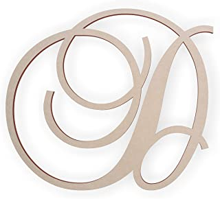 Jess and Jessica Wooden Letter D, Wooden Monogram Wall Hanging, Large Wooden Letters, Cursive Wood Letter