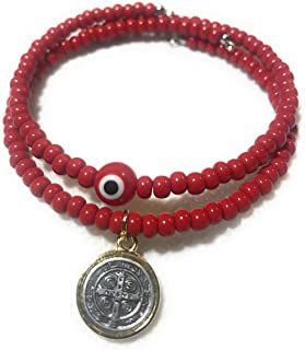 Chavarrieta Set of 2 Red Evil Eye and Saint Benedict Memory Wire Bracelets. Set de dos pulseras de Memoria de San Benito y ojo turco Rojo