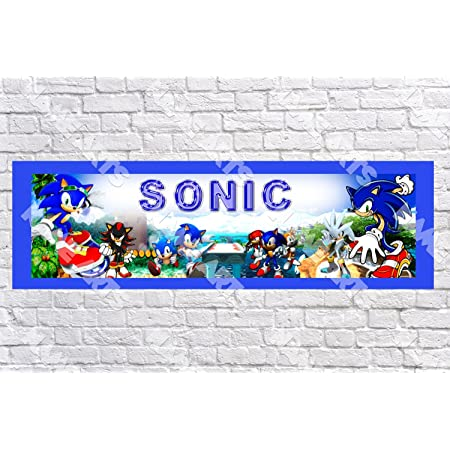 x2 Personalised Birthday Banner Sonic Children Kids Party Decoration Poster 11