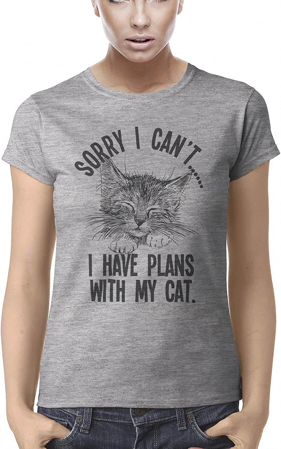 buzz shirts Sorry I Cant.I Have Plans with My Cat Womens Organic Cotton Pet T-Shirt