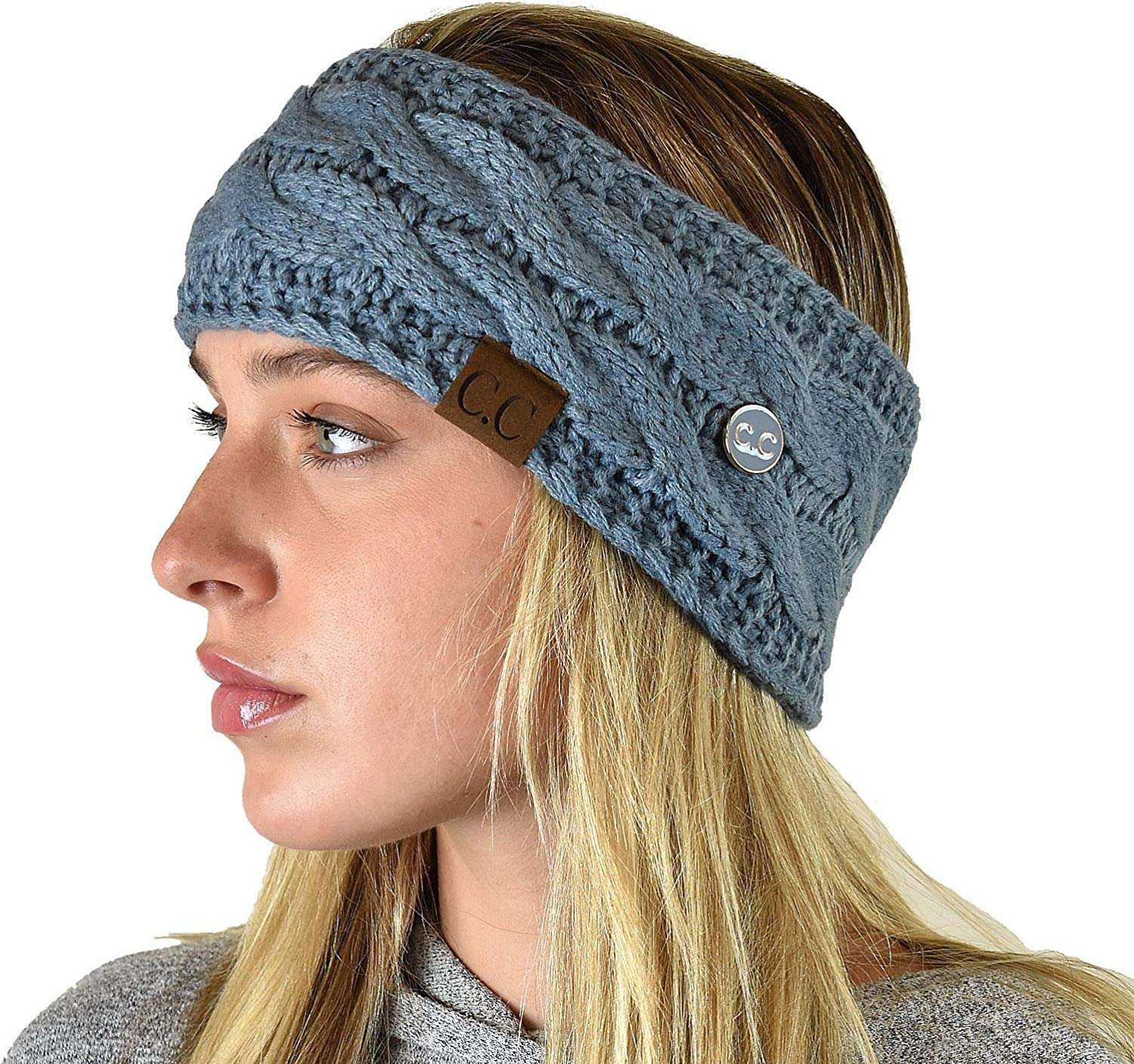 C.C Soft Stretch Cable Knit Side Epoxy Button for Mask Fuzzy Lined Ear Warmer Headband