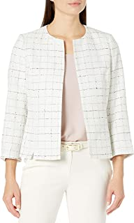 Kasper Women's Novelty Tweed Jacket with Jewel Neck and Cropped Sleeves