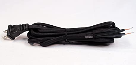 Creative Hobbies Black Rayon Cloth Covered Electric Lamp Cord with End Plug, Stripped Ends Ready for Wiring -8 Foot, SPT-2 UL Listed