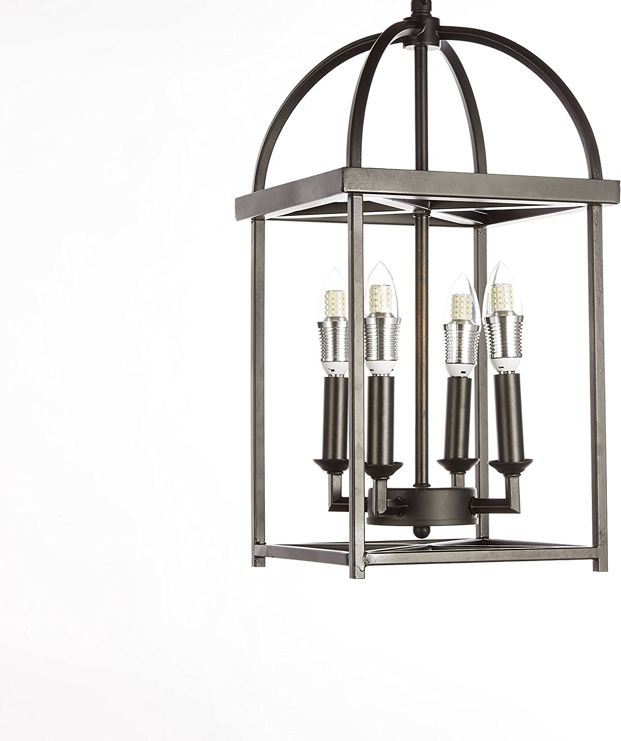 Central Park Industrial Vintage Pendant Lighting, Length 10 inches, Width 7 inches, Height 18 inches, CPH-QSQ-10-L4-BK