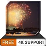 無料の水辺の花火、HDR 8k 4kテレビの美しい照明でお祝いを飾り、調停と平和のための壁紙とテーマとしての火器
