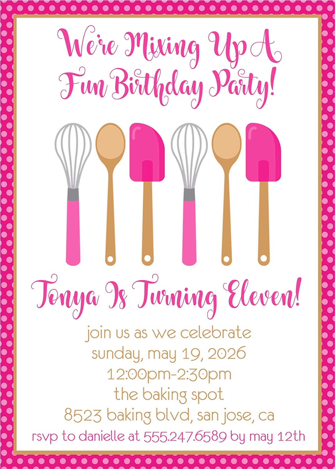 Girls Super intense SALE Pink Baking Birthday Invitations With NEW before selling Envelopes Party