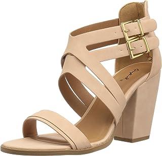 Qupid Women's Chunky Heeled Sandal, blush nubuck polyurethane, 6 M US