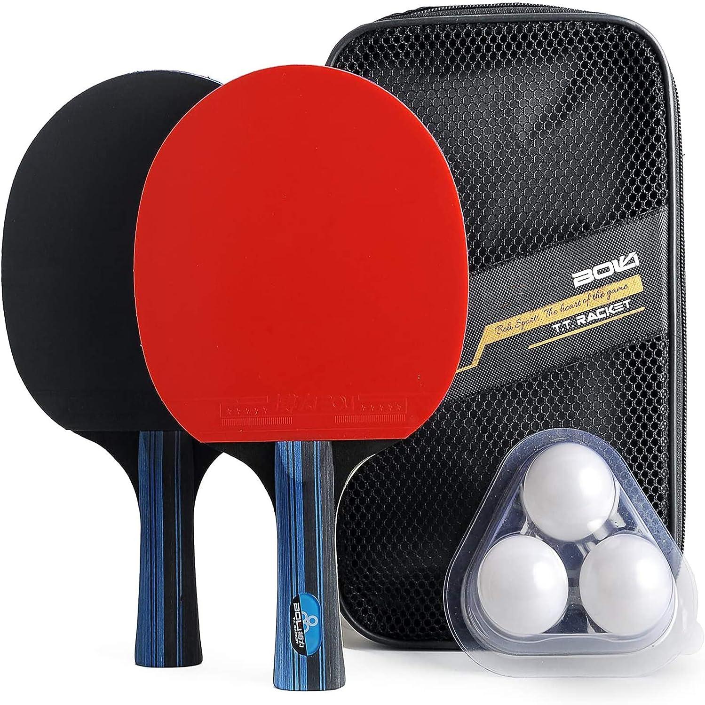 Juego de Tenis de Mesa de Entrenamiento con 2 murciélagos y 3 Pelotas en 1 Estuche de Transporte, empuñaduras de Mano, Raquetas de Mango Largo