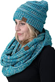 Womens Infinity Scarf and Slouchy Knit Beanie Matching Winter Set