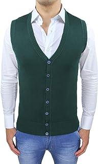 Evoga Gilet smanicato uomo slim fit casual elegante corpetto maglia cardigan