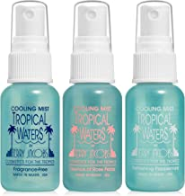 Tropical Waters 3 Piece Travel Set, 1 oz. Bottles, Rose Water Make Up Setting Spray, Peppermint Cooling Spray Mist, Fragrance Free Cooling Spray and Facial Mist -Long Lasting, Hydrating, Non-irritatin