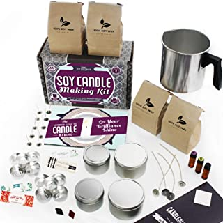 DIY Gift Kits Soy Candle Making Kit for Adults (49-Piece Set) DIY Starter Kit w/ Wax, Wicks, Tin Containers, Natural Essential Oils, Color Sticks   Creates Colorful, Large Candles