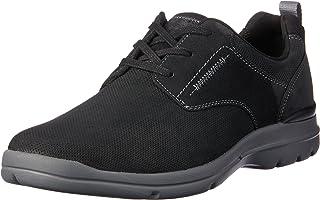 ROCKPORT Men's Comfortable Walking City Edge Plain Toe Shoe, Black Nubuk
