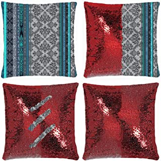 Huayuanhurug Teal Aqua Grey Vintage Bohemian Wallpaper Magic Reversible Sequins Throw Pillow Case Decorative Changing Cushion Cover Pillowcase for Couch Sofa 18 Inch