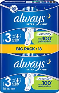 Always Ultra Night Binden (maat 3) met vleugels 18 stuks