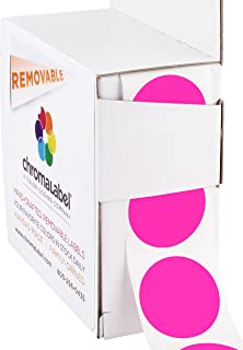 ChromaLabel 1 inch Removable Color-Code Dot Labels | 1,000/Dispenser Box (Fluorescent Pink)