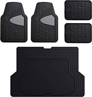 FH Group F11311 Premium Tall Channel Rubber Floor Mats, Gray/Black Color w. F16406 Premium Trimmable Black Rubber Cargo Mat