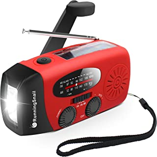 [Upgraded Version] RunningSnail Emergency Hand Crank Self Powered AM/FM NOAA Solar Weather Radio with LED Flashlight, 1000...