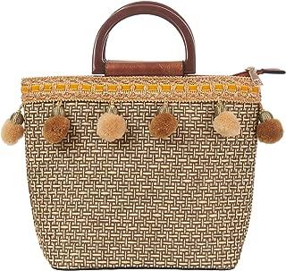 Summer Handbag Pompom Straw Bags Holiday Ladies Casual beach Shoulder Bag Retro Wooden Handle Brown